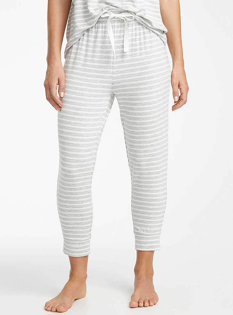 Miiyu Patterned Grey Sailor-stripe modal joggers for women