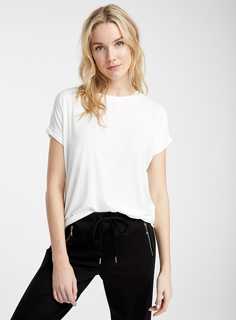 Miiyu Ivory White Rolled sleeve modal tee for women