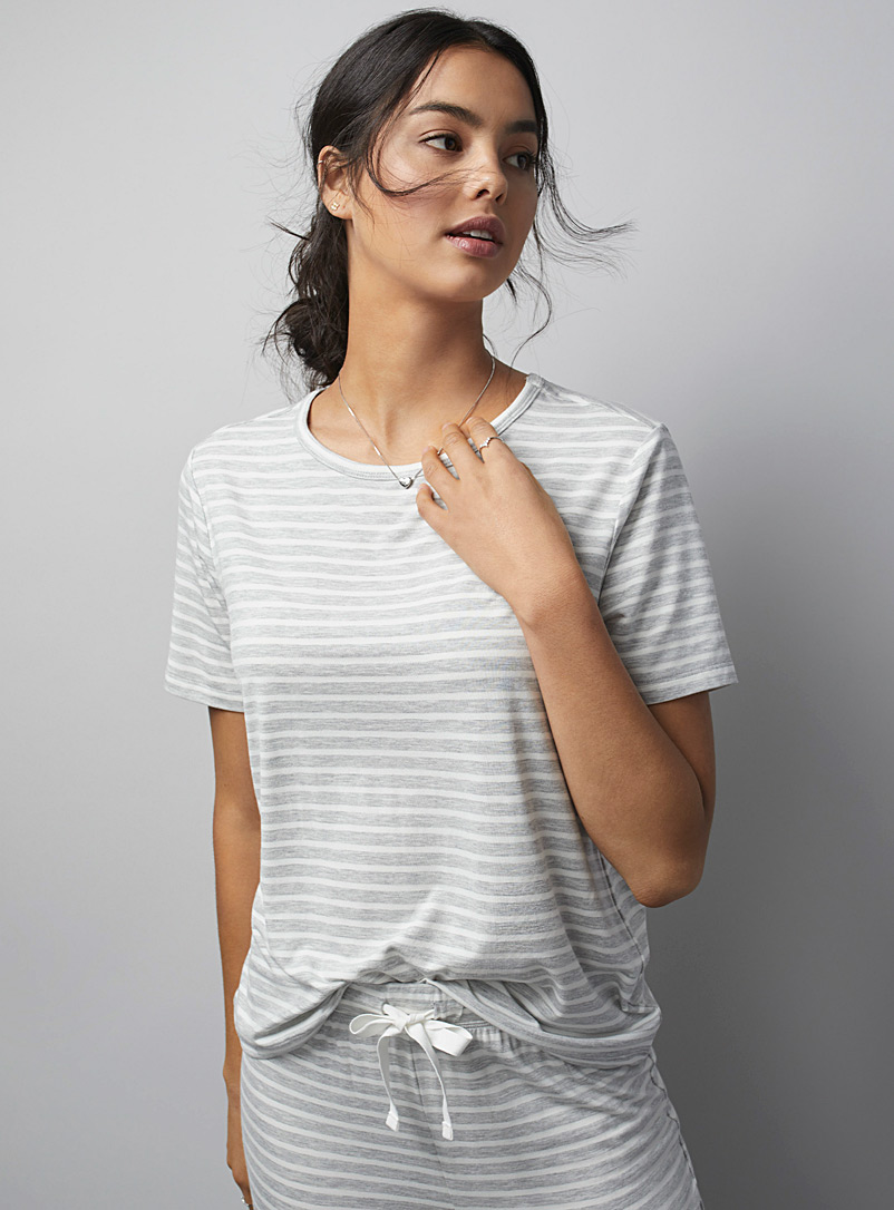 Miiyu Patterned Grey Sailor-stripe modal tee for women