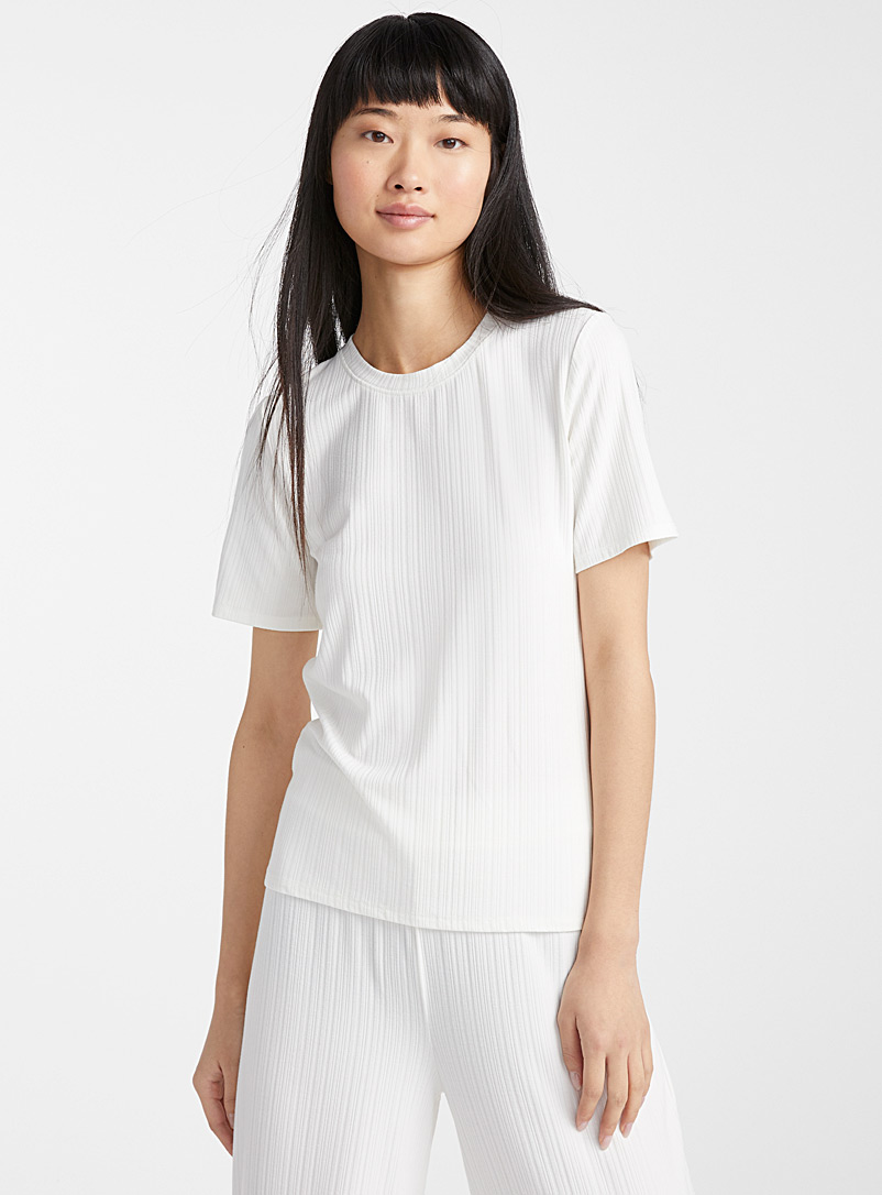 Miiyu x Twik Ivory White Finely ribbed tee for women