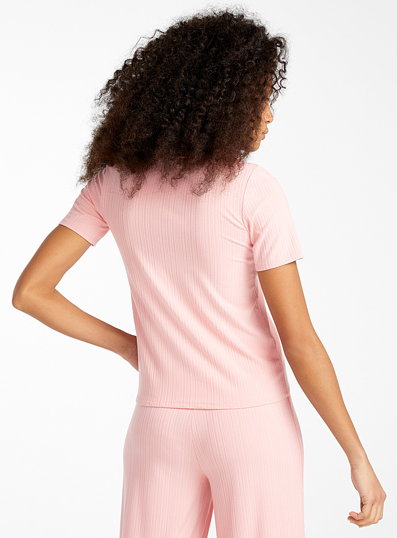 Miiyu x Twik Dusky Pink Finely ribbed tee for women