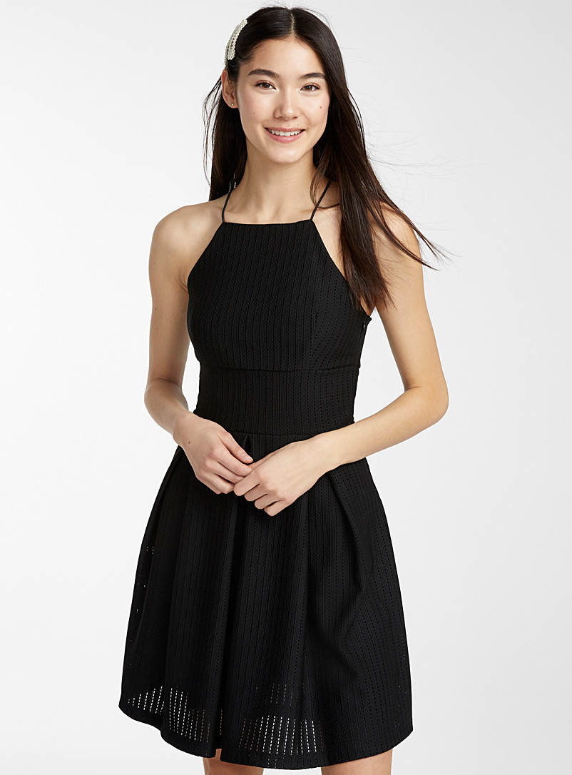 Twik Black Little 3D-mesh dress for women