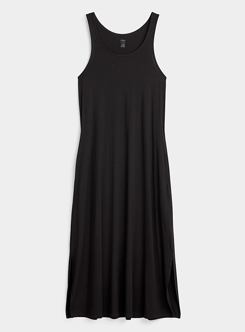 Miiyu Black Long modal nightgown for women