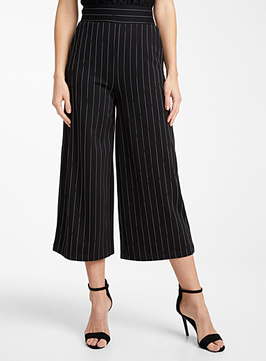 Engineered jersey striped wide-leg pant