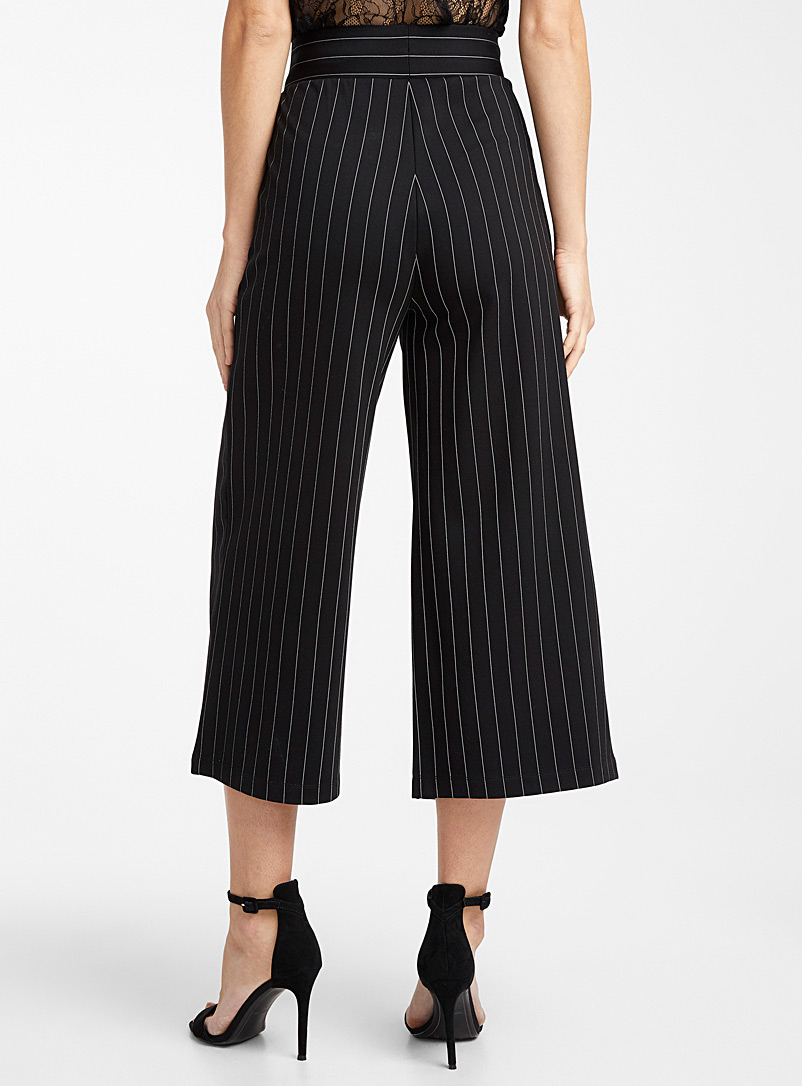 Icône Patterned Black Engineered jersey striped wide-leg pant for women