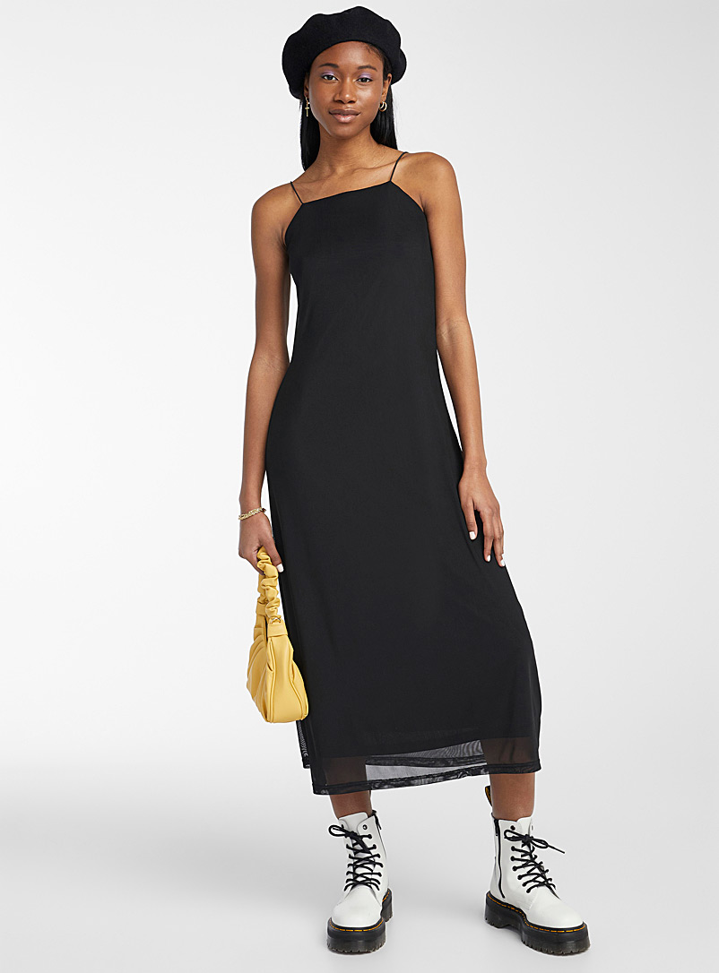 Twik Black Nostalgic mesh square-neck dress for women