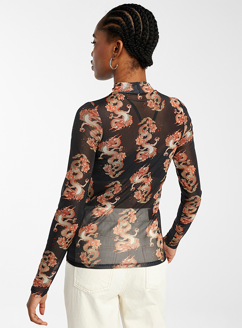 Printed mesh mock neck - Long Sleeves - Black