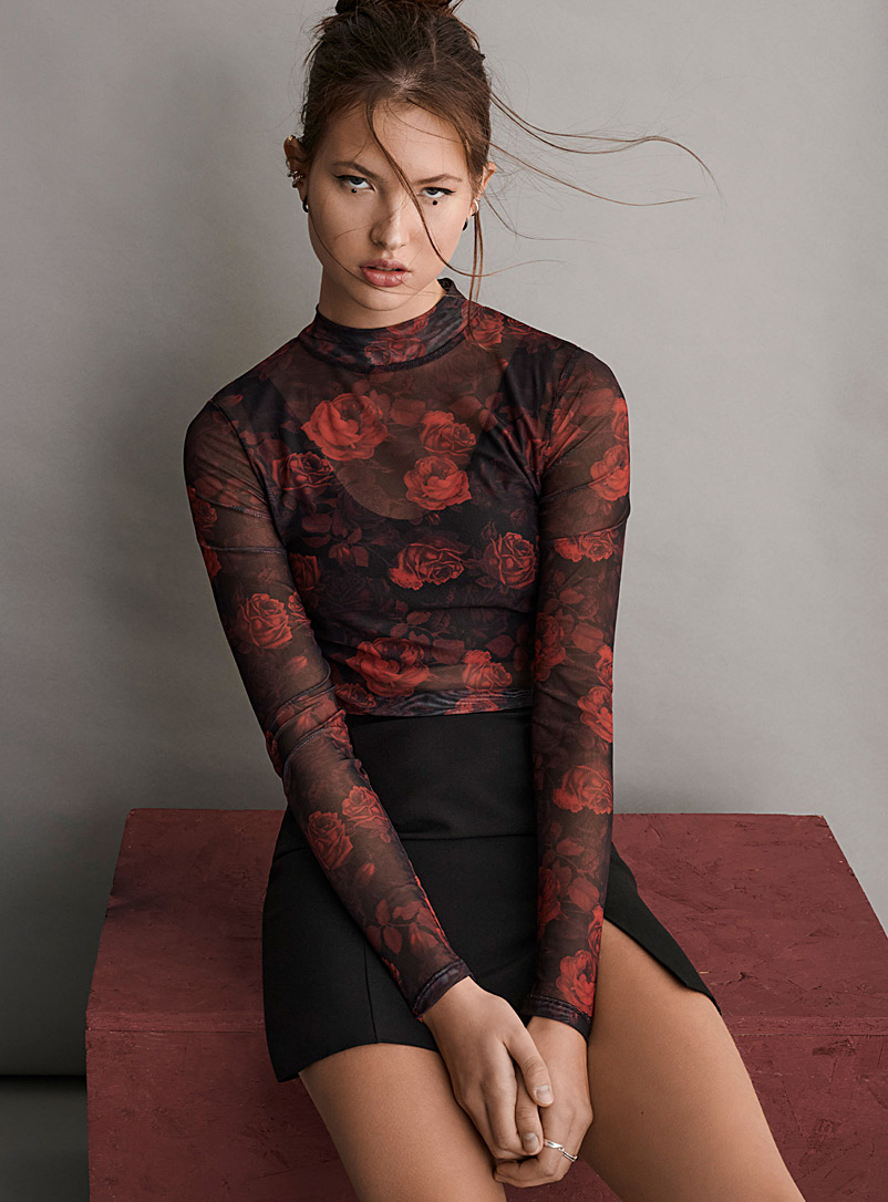 Twik Ruby Red Printed mesh mock neck for women