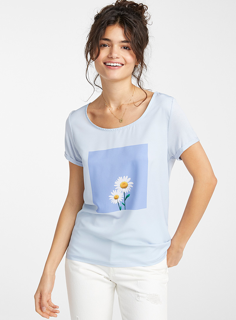 Twik Blue Photo print tee for women