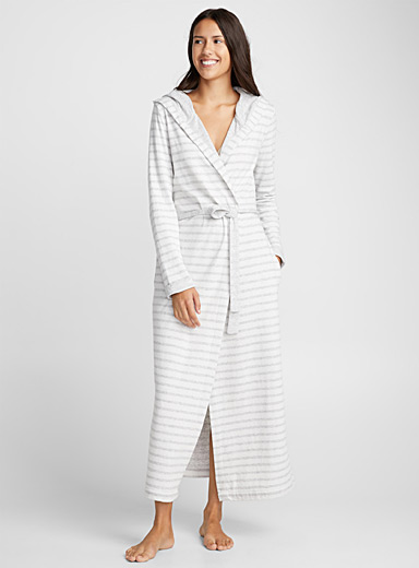 Faded stripe long robe