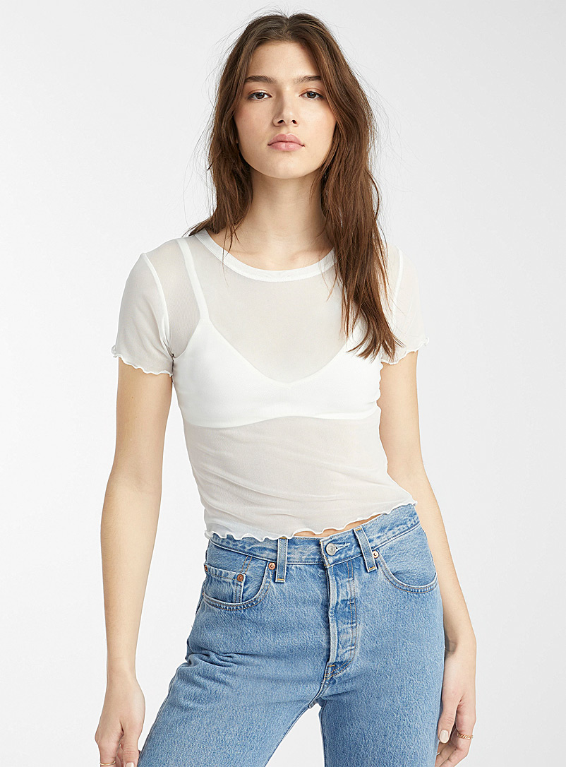 Twik Blue Ruffled cropped mesh tee for women