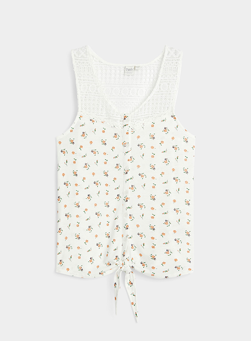 Twik Patterned White Patterned buttoned cami for women