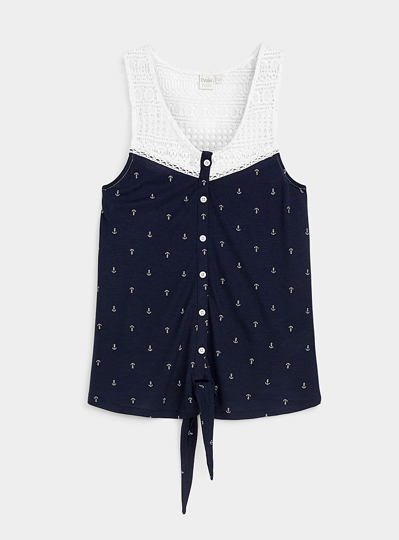 Patterned buttoned cami