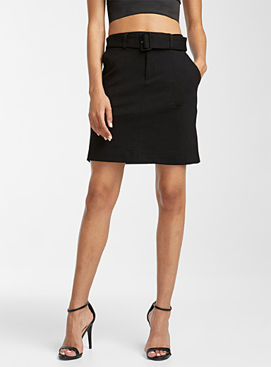Icône Black Structured jersey belted miniskirt for women