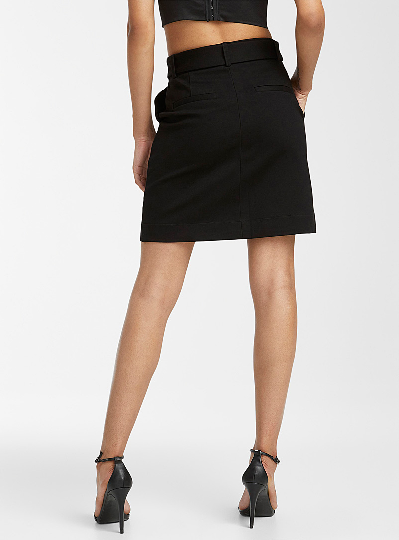 Icône Black Belted structured jersey miniskirt for women