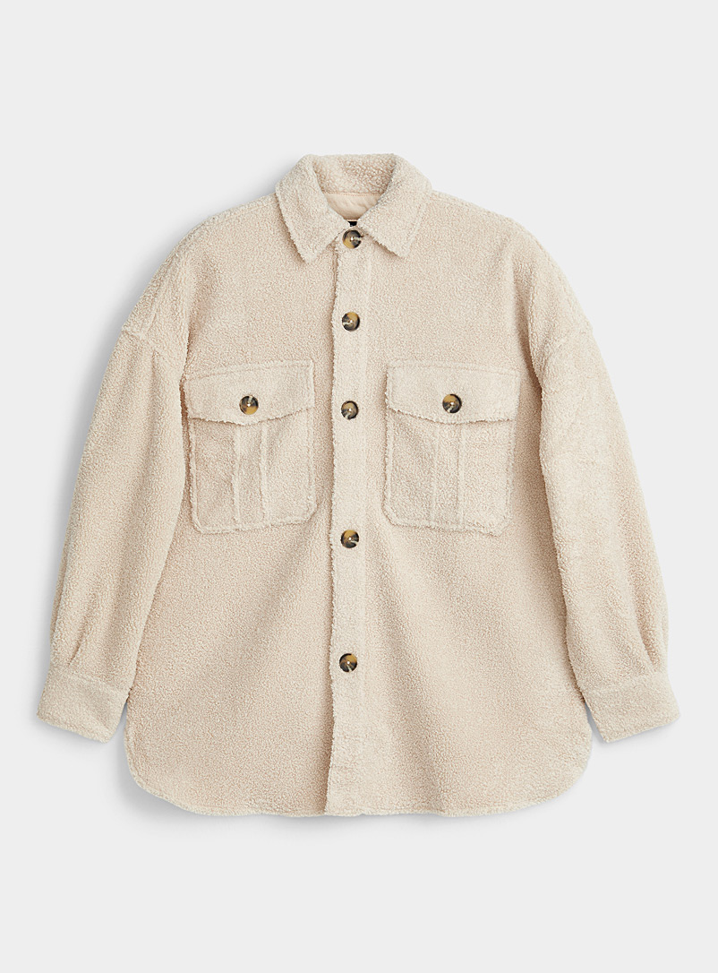 Icône Ivory White Sherpa overshirt for women