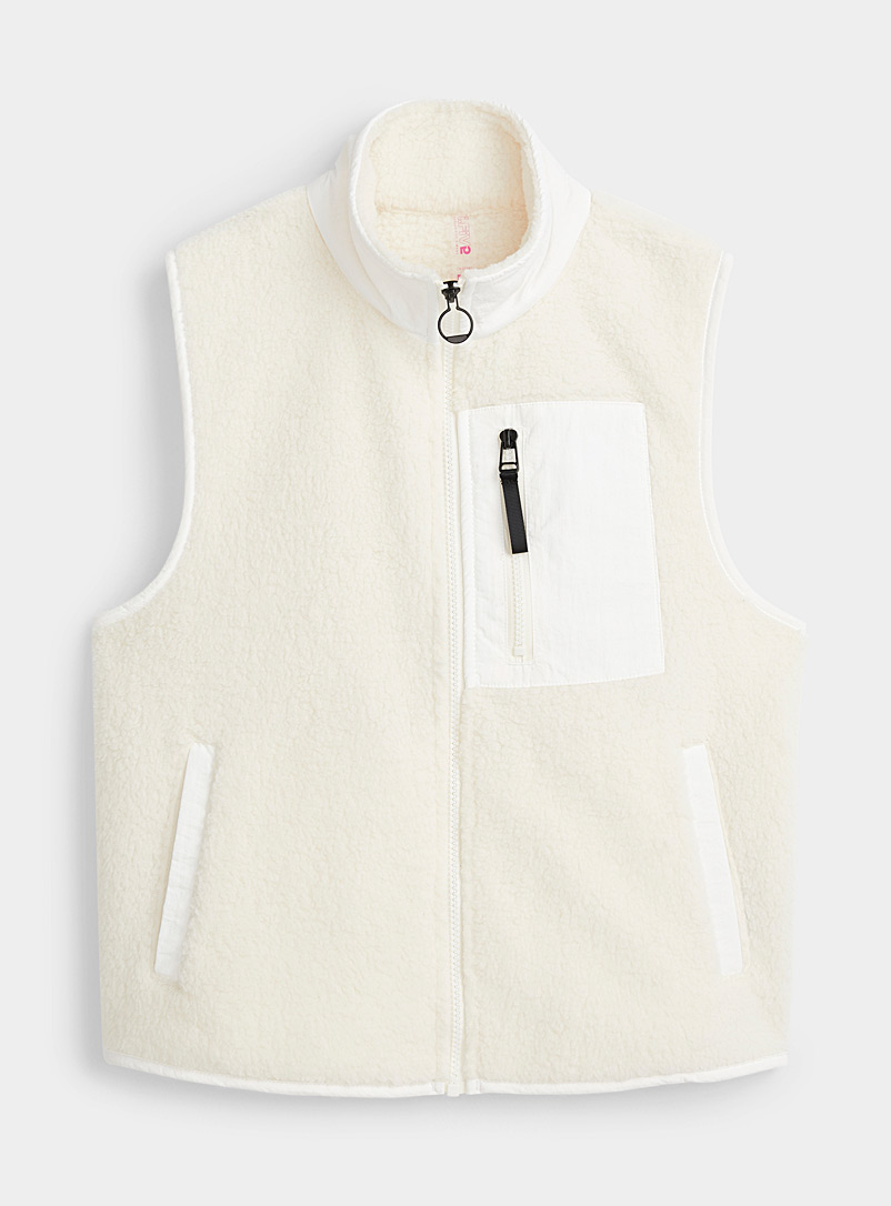 I.FIV5 Ivory White Sleeveless cotton fleece jacket for women