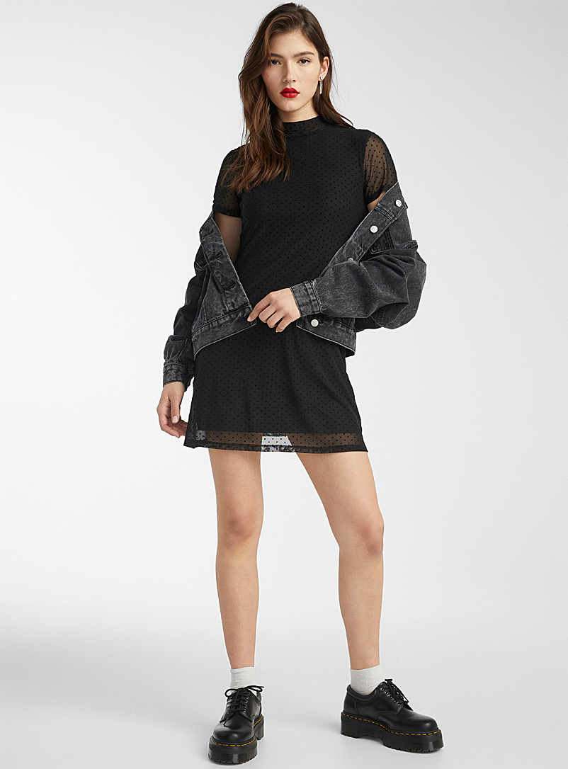 Twik Black Mesh high-neck dress for women