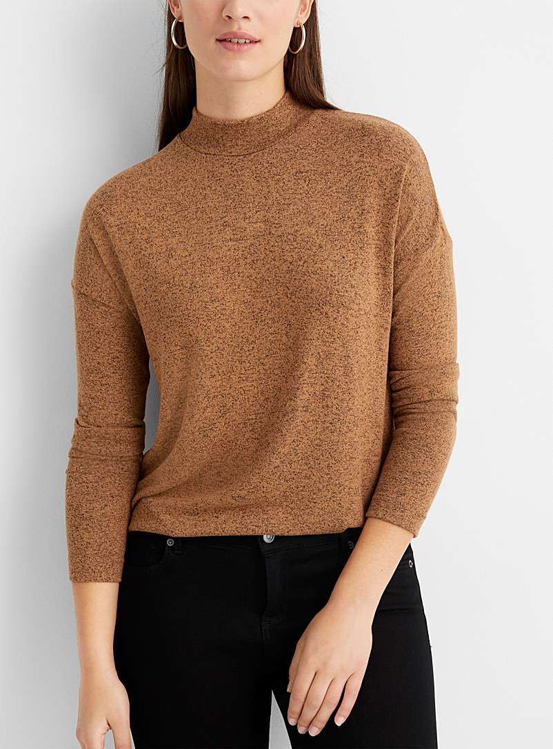 Contemporaine Medium Brown Loose heathered mock-neck top for women
