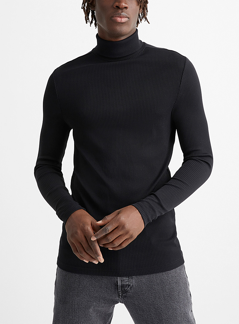 Le 31 Black Ribbed turtleneck for men