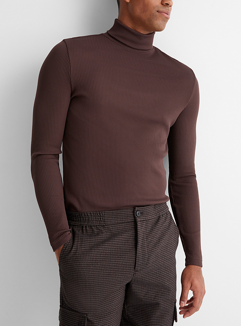 Le 31 Dark Brown Ribbed turtleneck for men