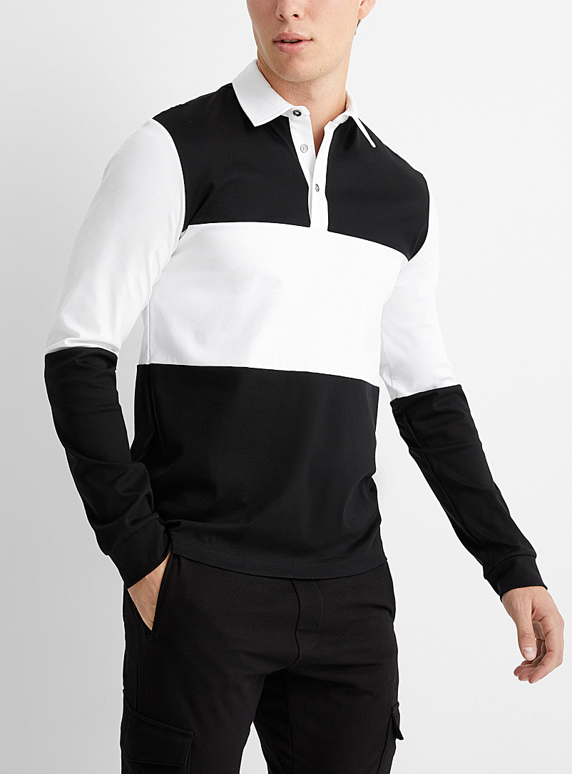 Le 31 Black Block-style liquid cotton polo for men