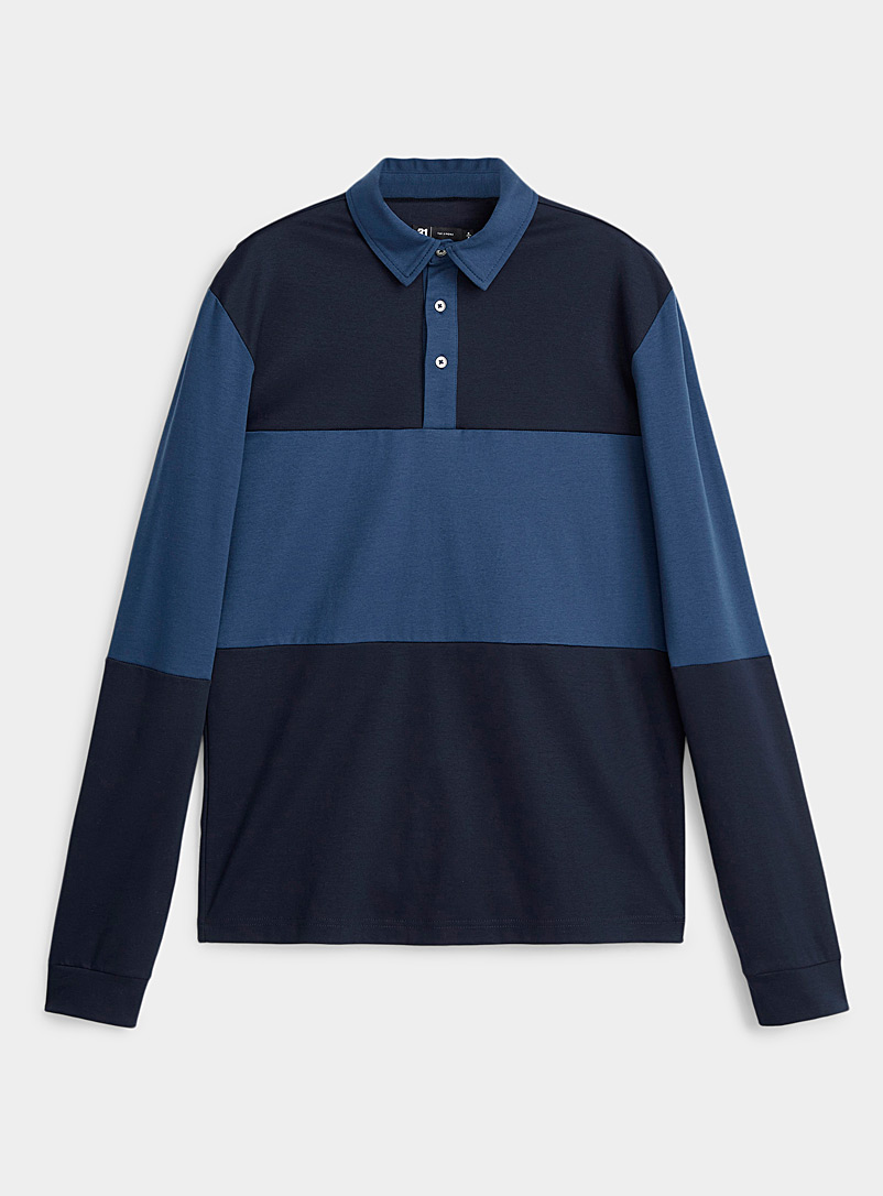 Le 31 Marine Blue Block-style liquid cotton polo for men