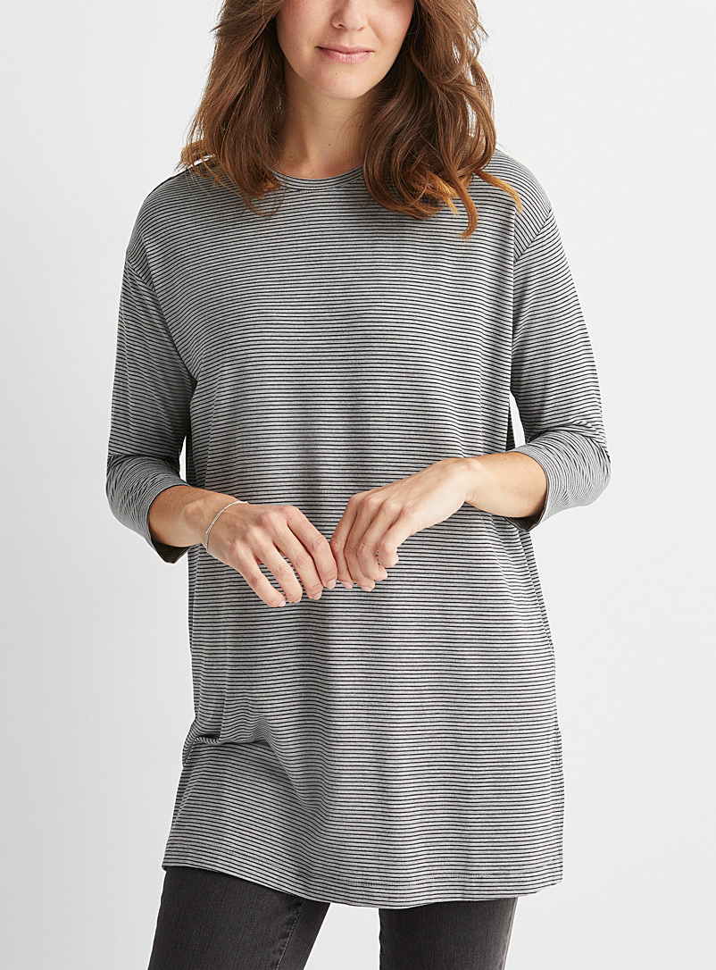 Contemporaine Patterned Grey Striped loose jersey tunic for women