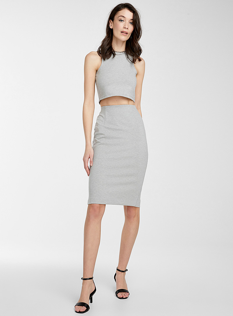 Icône Grey Structured jersey pencil skirt for women