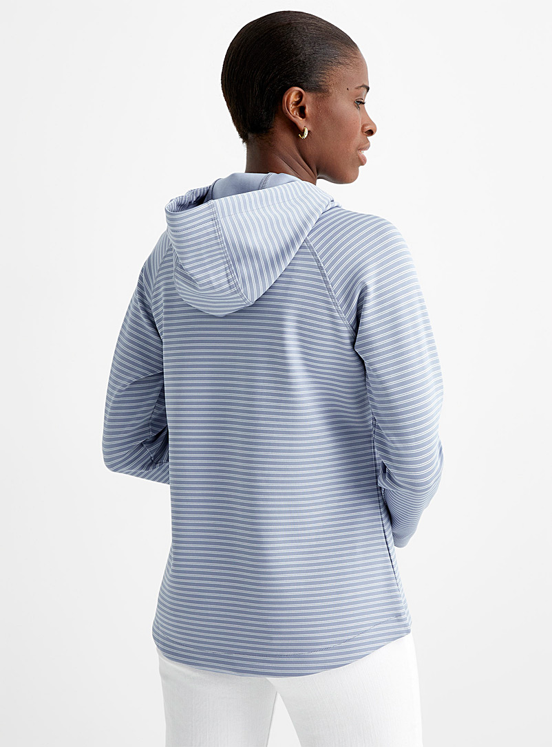 Contemporaine Patterned Blue Striped satiny jersey hoodie for women
