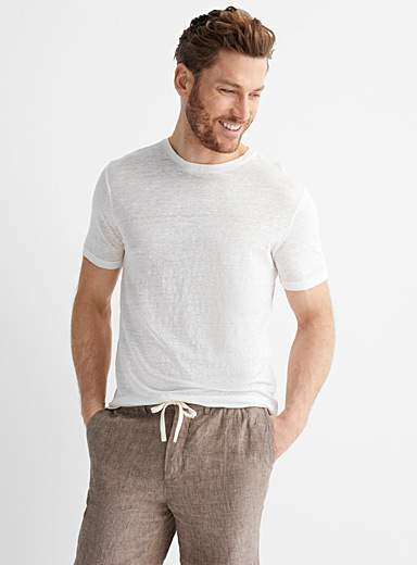 Solid pure linen T-shirt