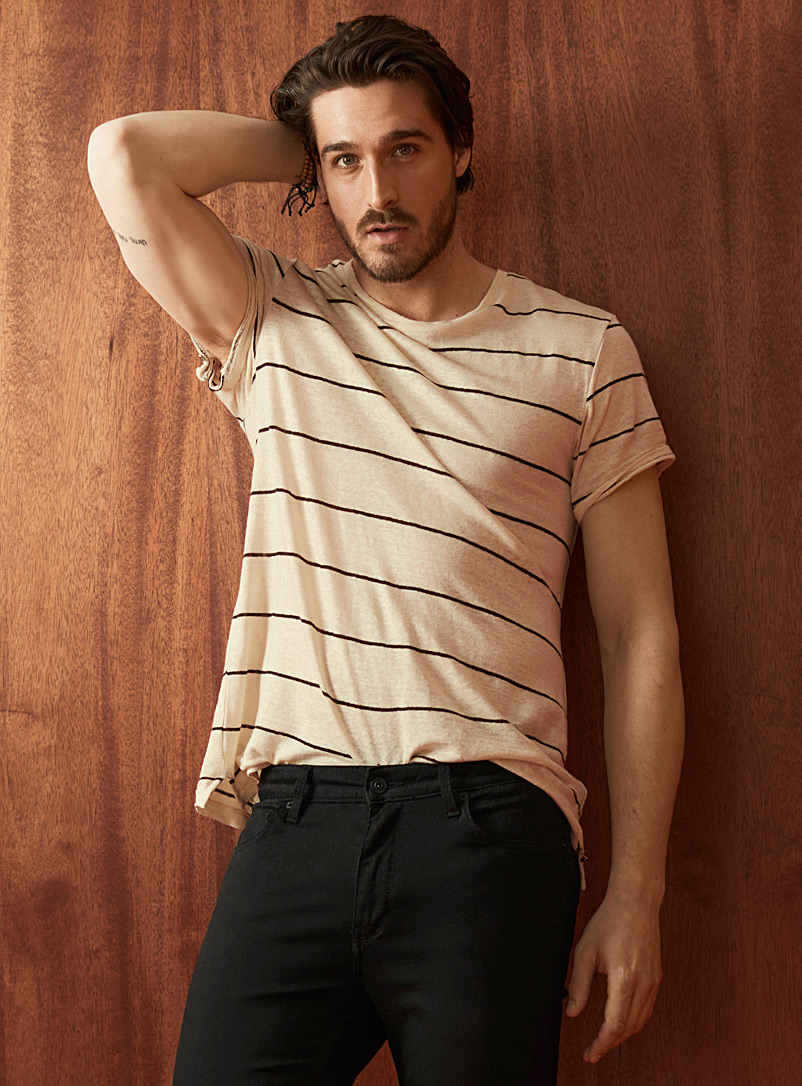Le 31 Ecru/Linen Striped pure linen T-shirt for men