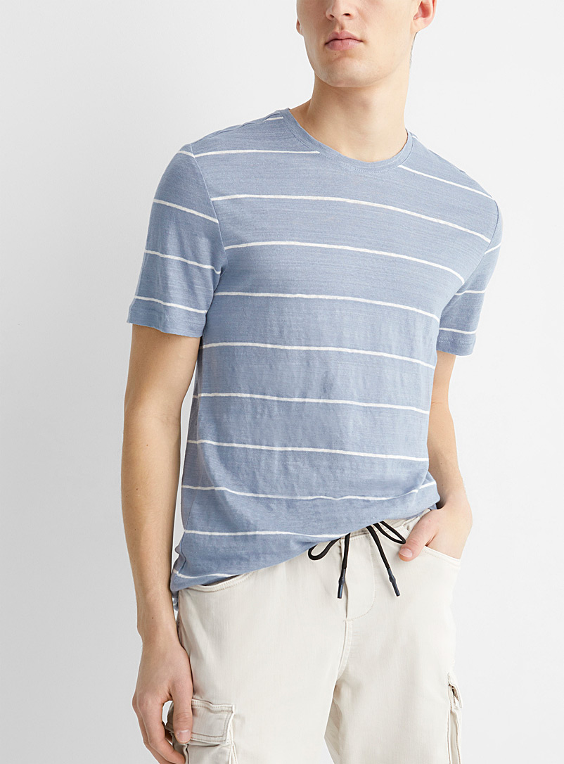 Le 31 Baby Blue Striped pure linen T-shirt for men