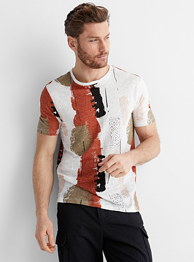 Pure linen printed T-shirt