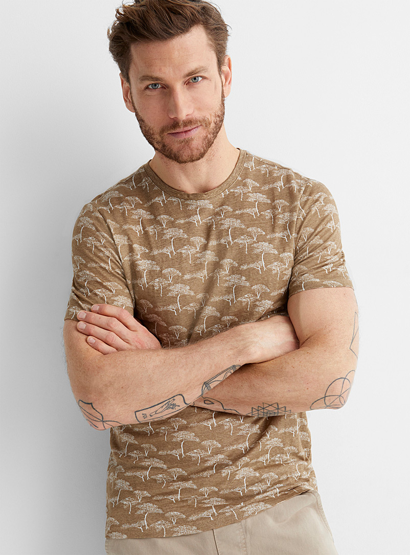 Le 31 Sand Pure linen printed T-shirt for men