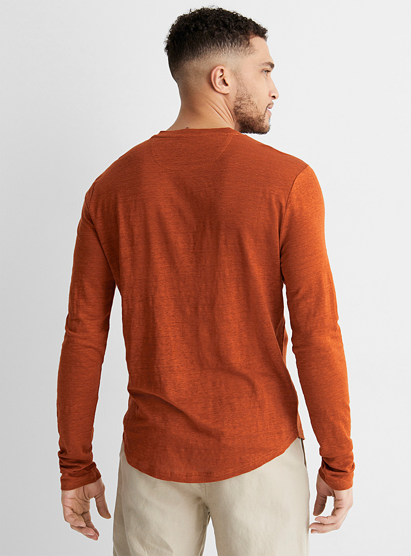 Le 31 Medium Orange Pure linen Henley T-shirt for men