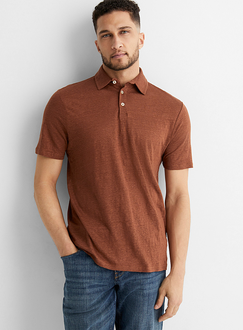 Le 31 Medium Brown Pure linen jersey polo for men