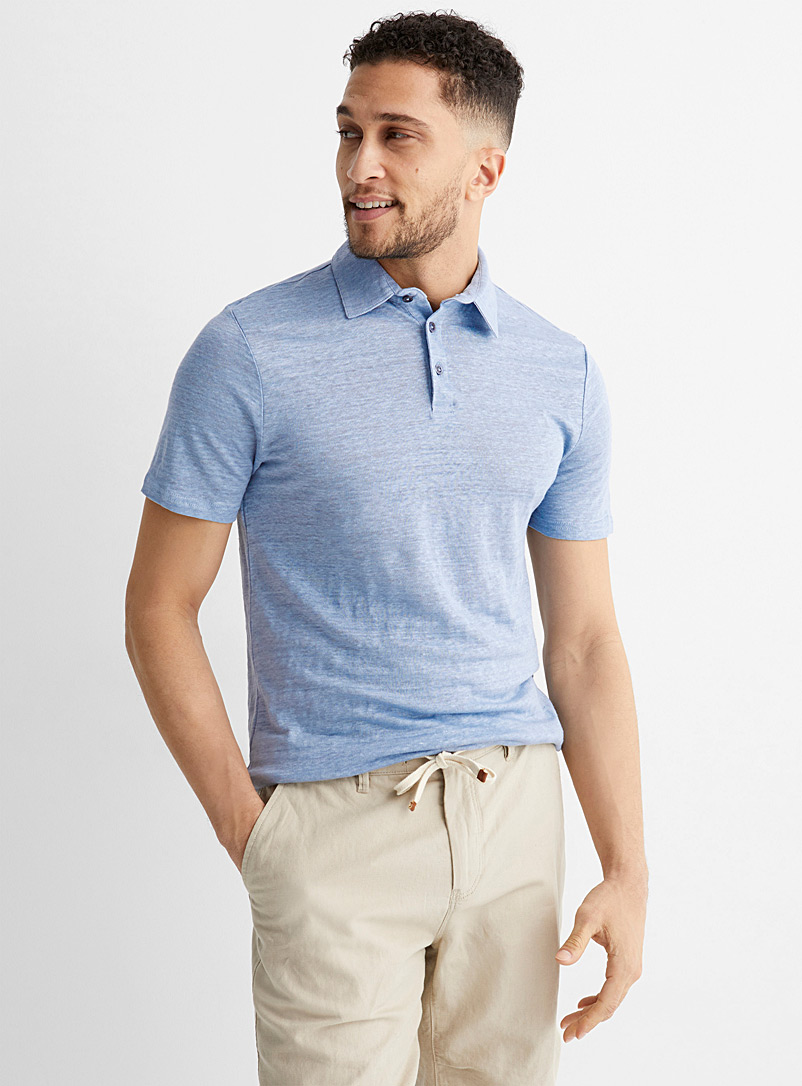 Le 31 Baby Blue Pure linen jersey polo for men