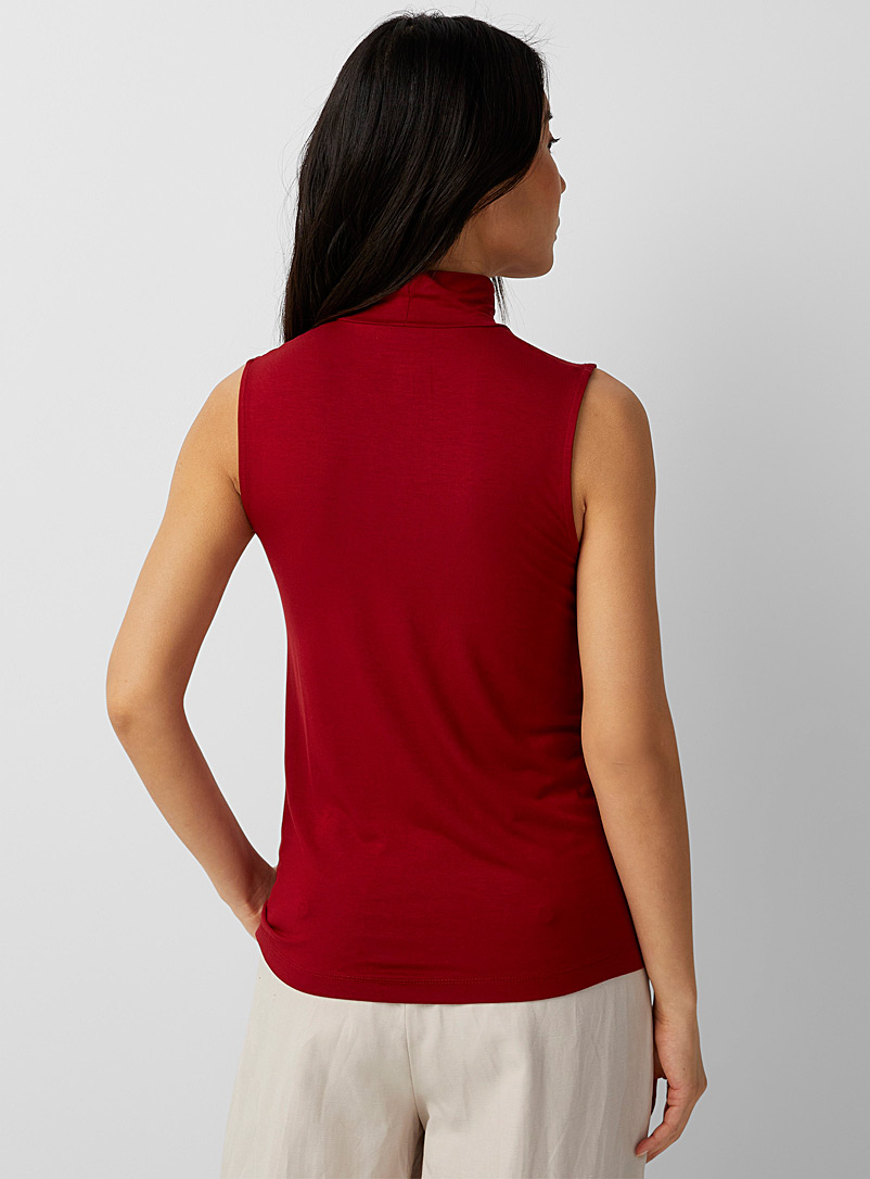Contemporaine Ruby Red Soft jersey sleeveless mock neck for women