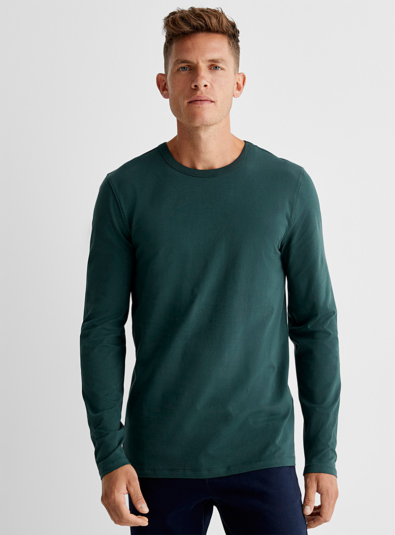 Le 31 White Stretch organic cotton long-sleeve T-shirt for men
