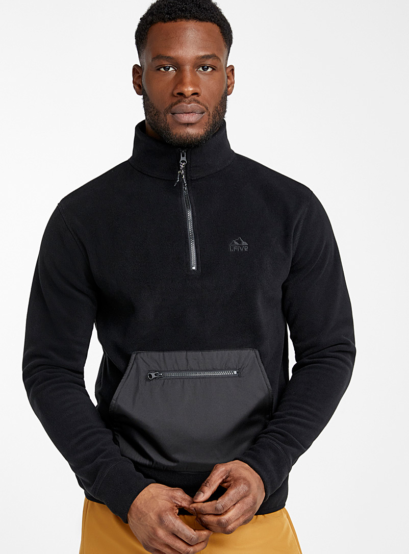 Recycled nylon and fleece half-zip sweater