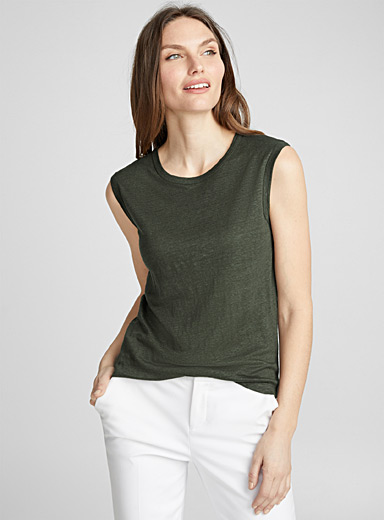 Linen athletic tank