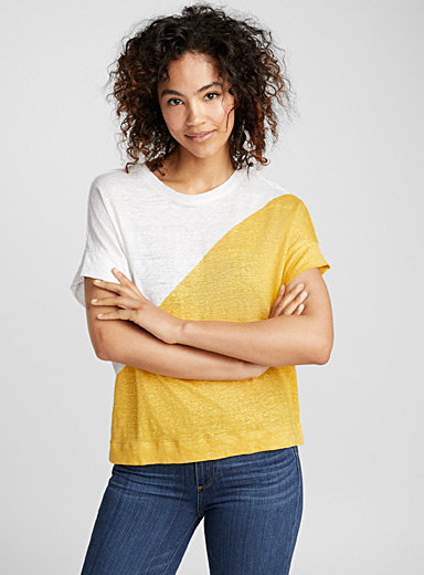 Colour block linen boxy tee