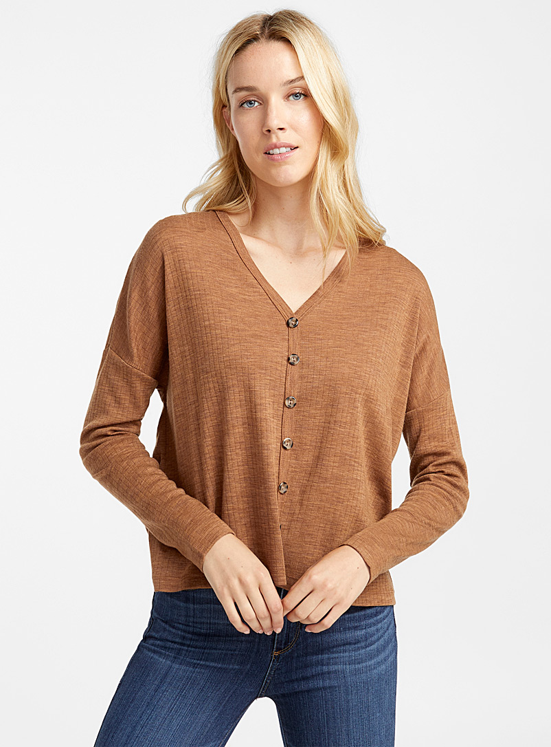 Buttoned ribbed wool cardigan - Long Sleeves - Fawn