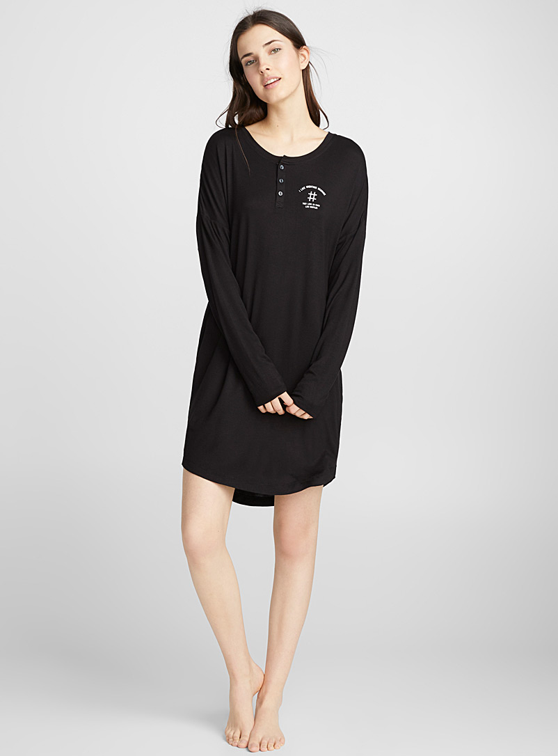 Foodie message nightgown - Nighties & Sleepshirts - Black