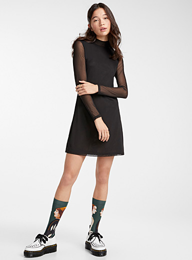Cherub mesh mock-neck dress