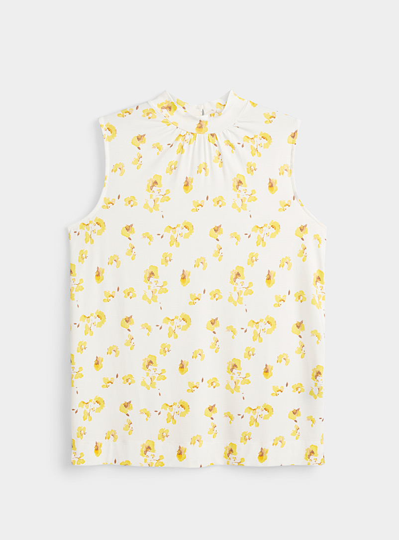Printed mock-neck tank top