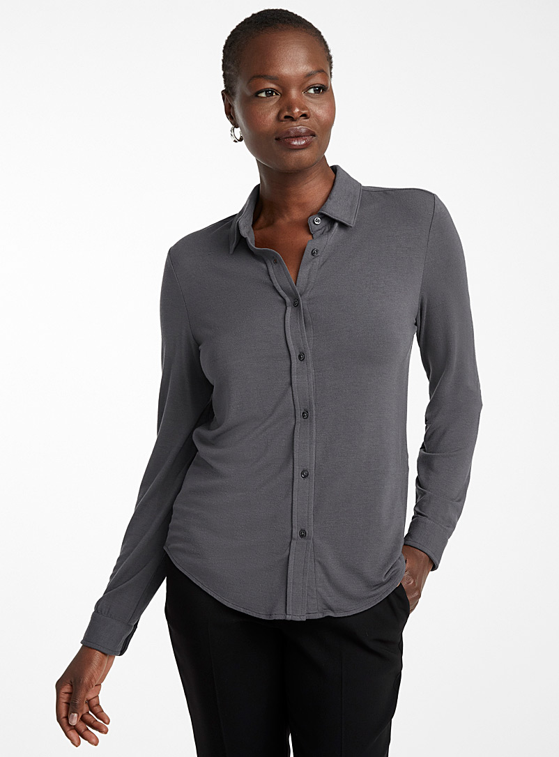 Contemporaine Dark Grey Modal jersey shirt for women