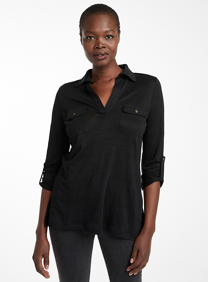 Contemporaine Black Patch pocket linen tunic for women