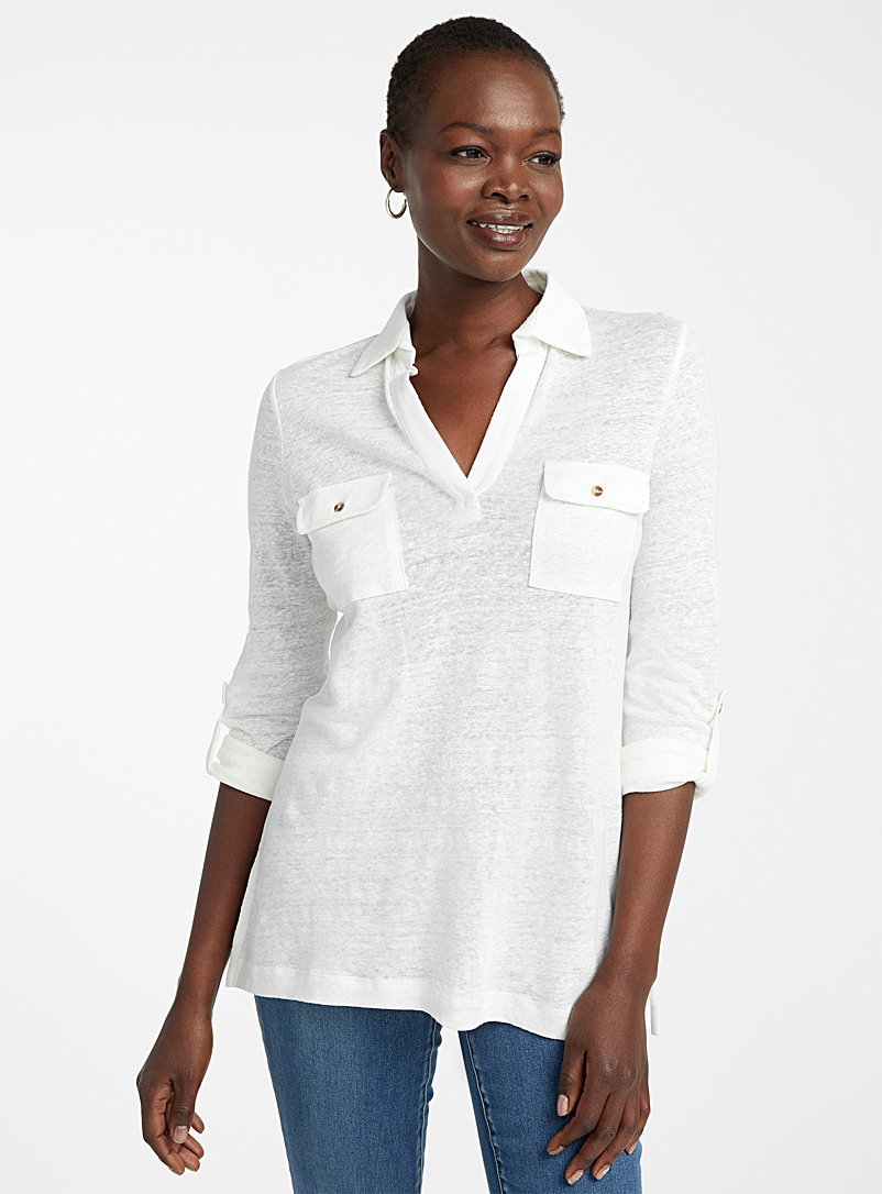Contemporaine Red Patch pocket linen tunic for women